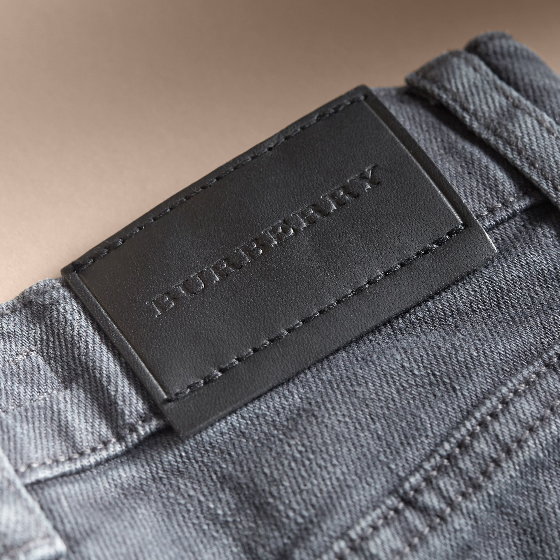 Skinny Fit Stretch Denim Jeans in Charcoal - Boy | Burberry - gallery image 2