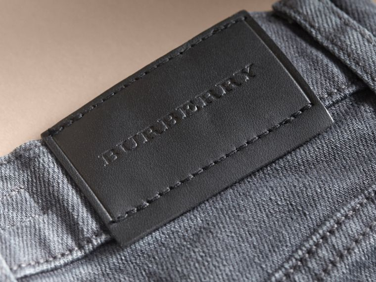 Skinny Fit Stretch Denim Jeans in Charcoal - Boy | Burberry - cell image 1