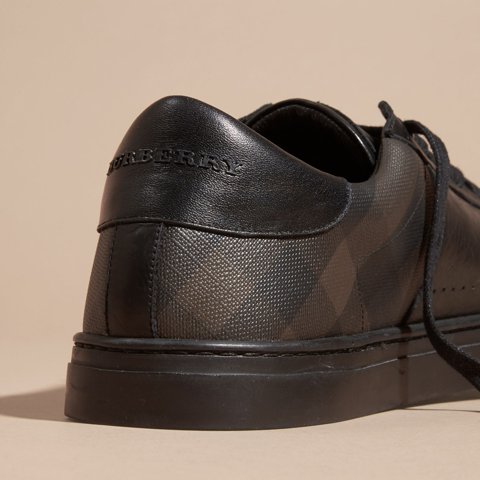 Check Detail Leather Trainers in Smoked Chocolate Chk - Men | Burberry - gallery image 2