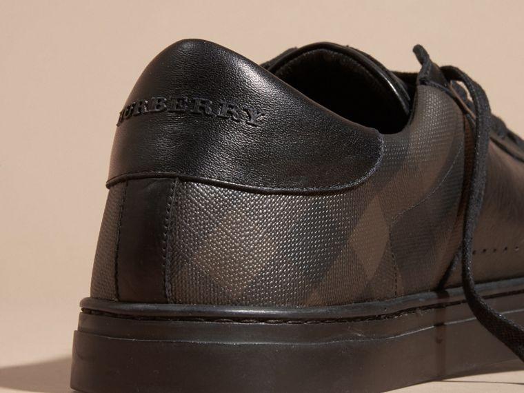 Check Detail Leather Trainers in Smoked Chocolate Chk - Men | Burberry Canada - cell image 1