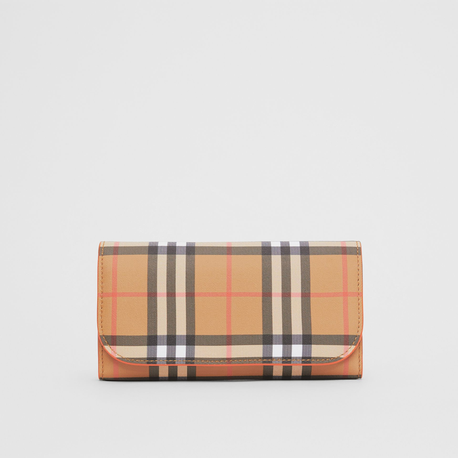 Vintage Check Continental Wallet with Zip Card Case in Clementine - Women | Burberry Canada - gallery image 0