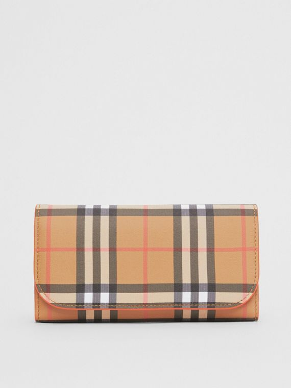 Vintage Check Continental Wallet with Zip Card Case in Clementine