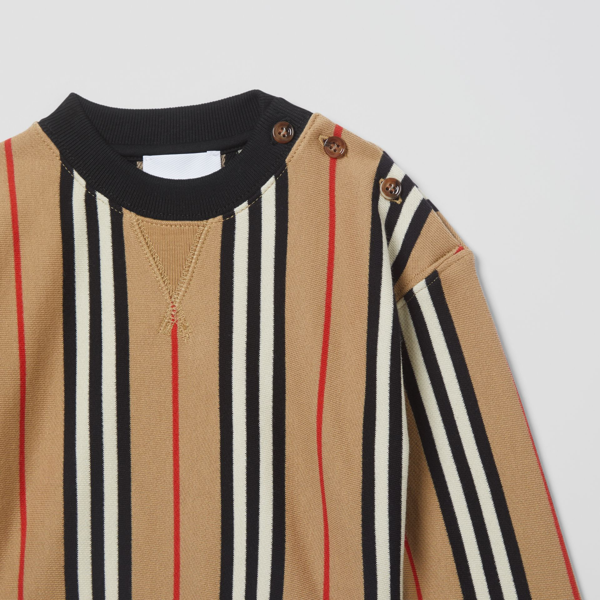 Icon Stripe Cotton Sweatshirt in Archive Beige - Children | Burberry United Kingdom - gallery image 4