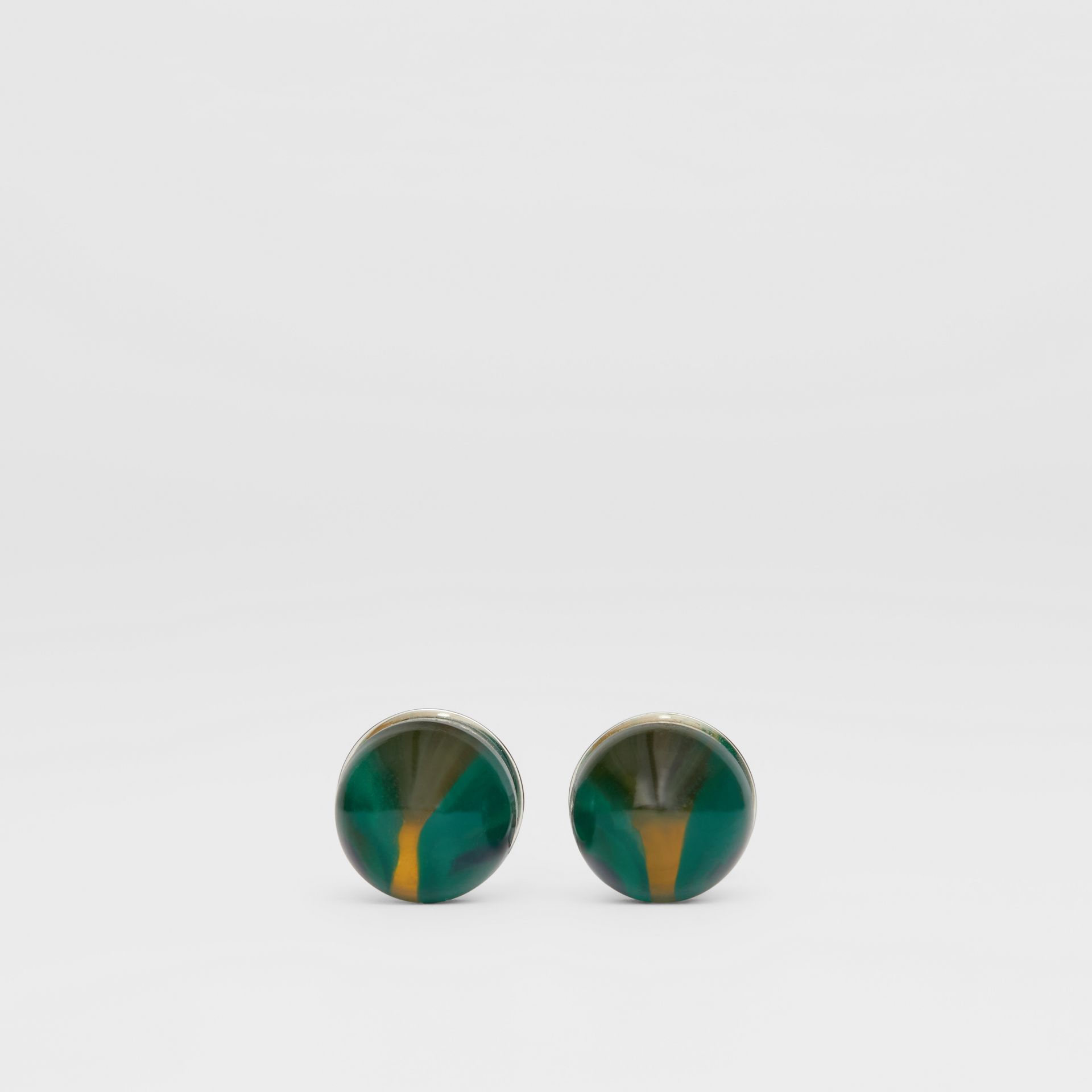 Marble and Brass Sphere Cufflinks in Silver/green - Men | Burberry - gallery image 0