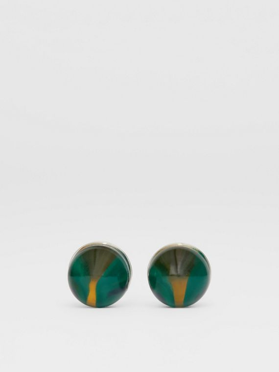 Marble and Brass Sphere Cufflinks in Silver/green
