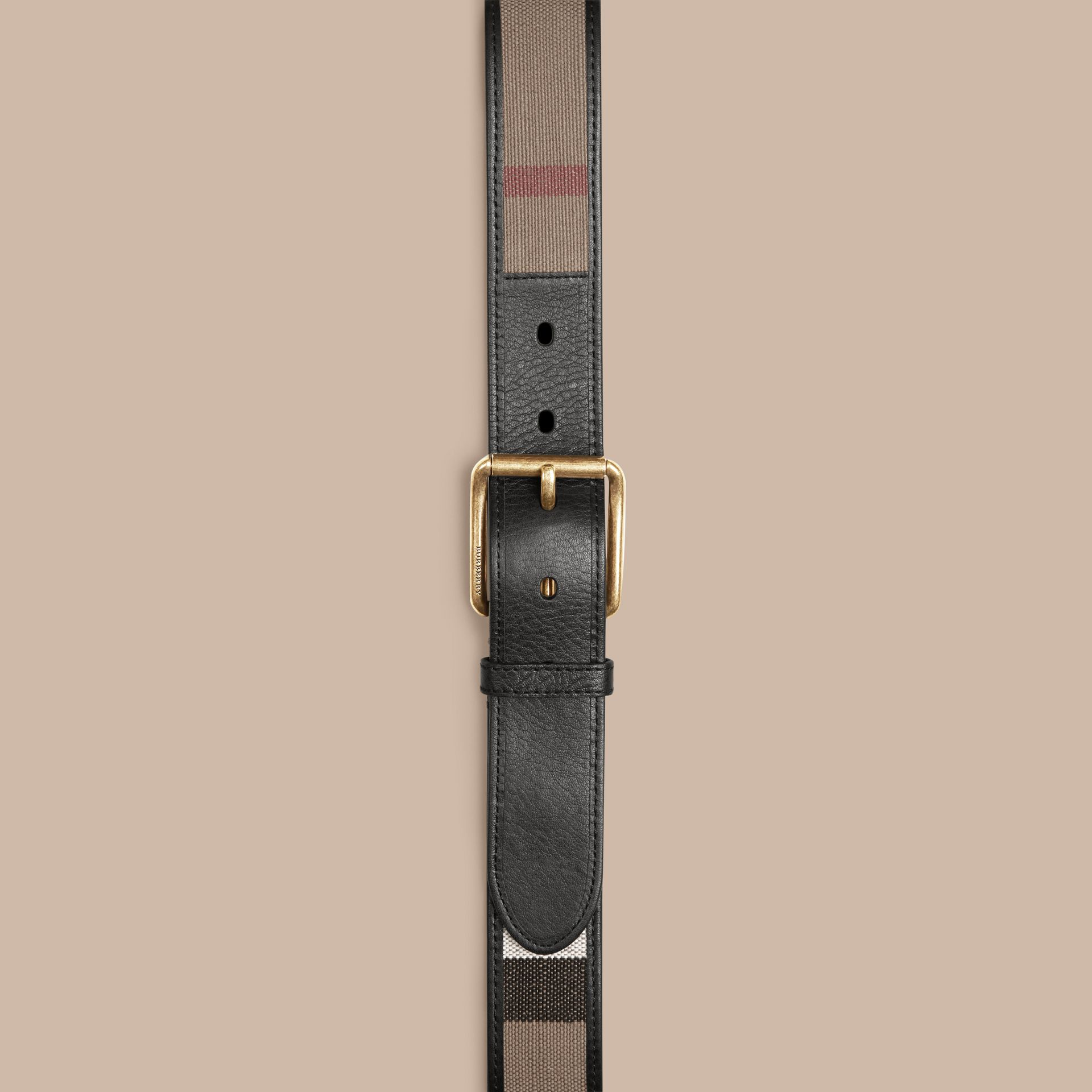 Camel Canvas Check and Leather Belt - gallery image 2