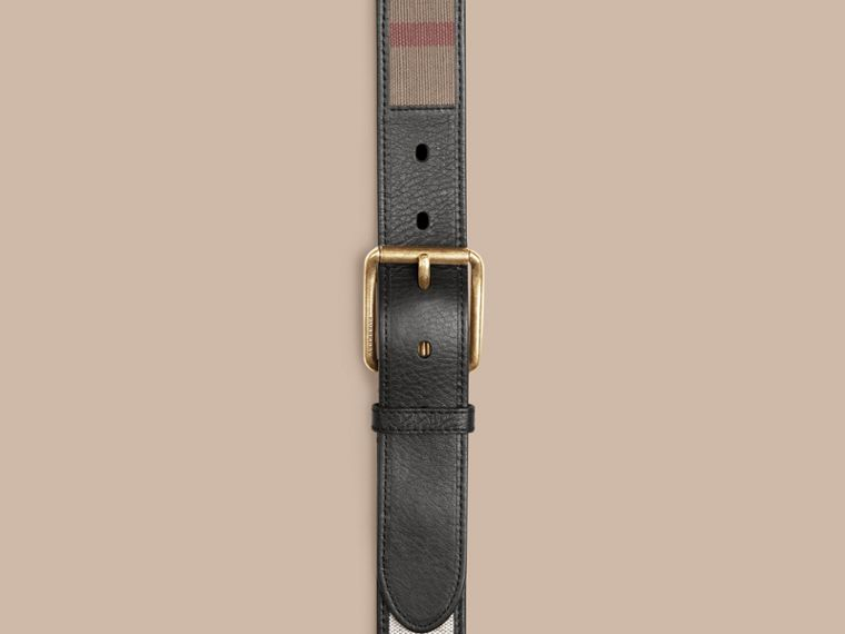 Camel Canvas Check and Leather Belt - cell image 1