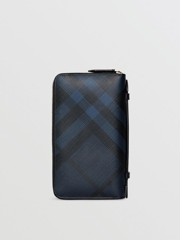 London Check Travel Wallet in Navy/black - Men | Burberry Australia - cell image 2
