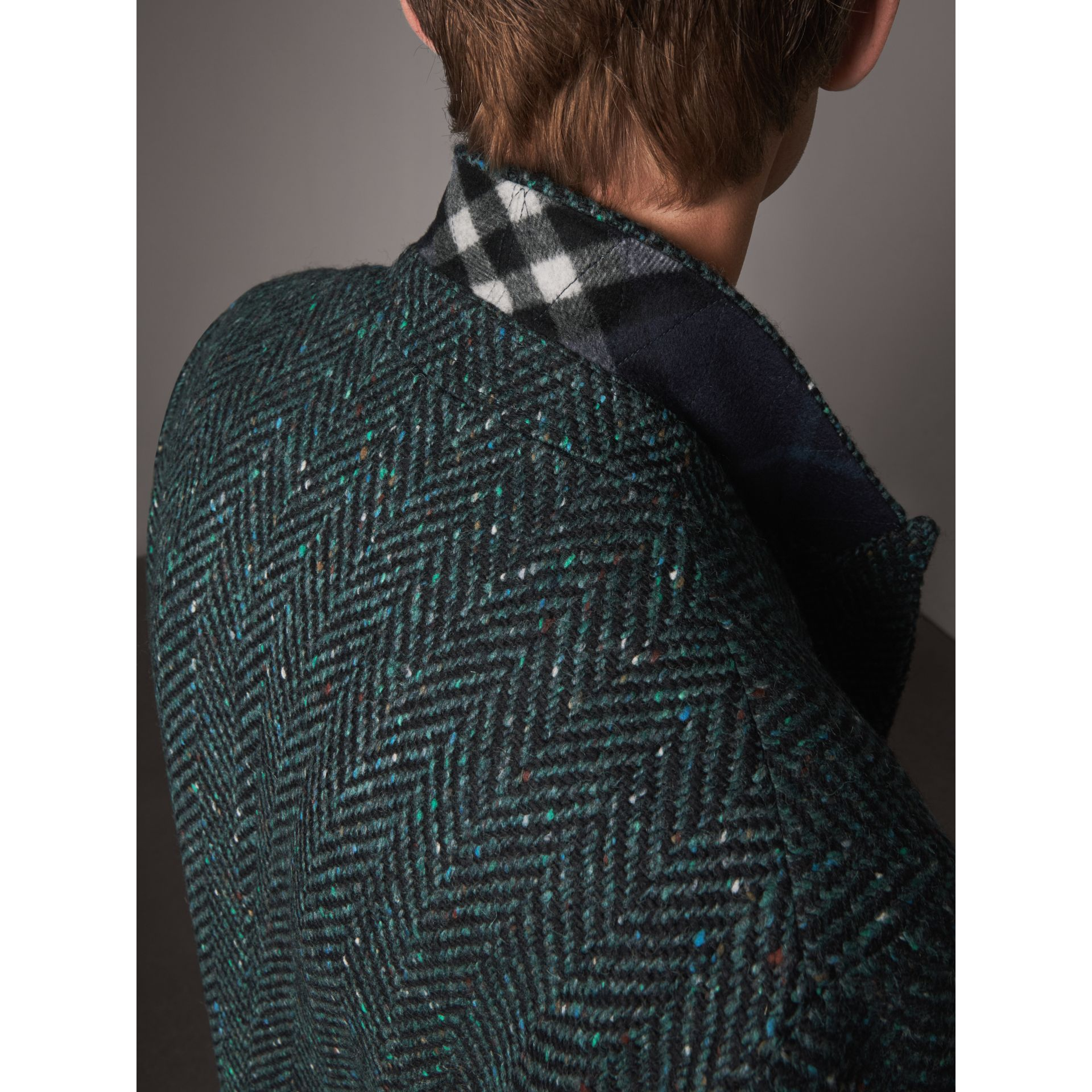 Donegal Herringbone Wool Double-breasted Coat in Dark Navy - Men | Burberry United States - gallery image 1