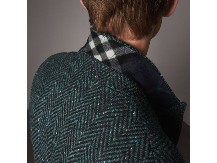 Donegal Herringbone Wool Double-breasted Coat in Dark Navy - Men | Burberry United States - cell image 1