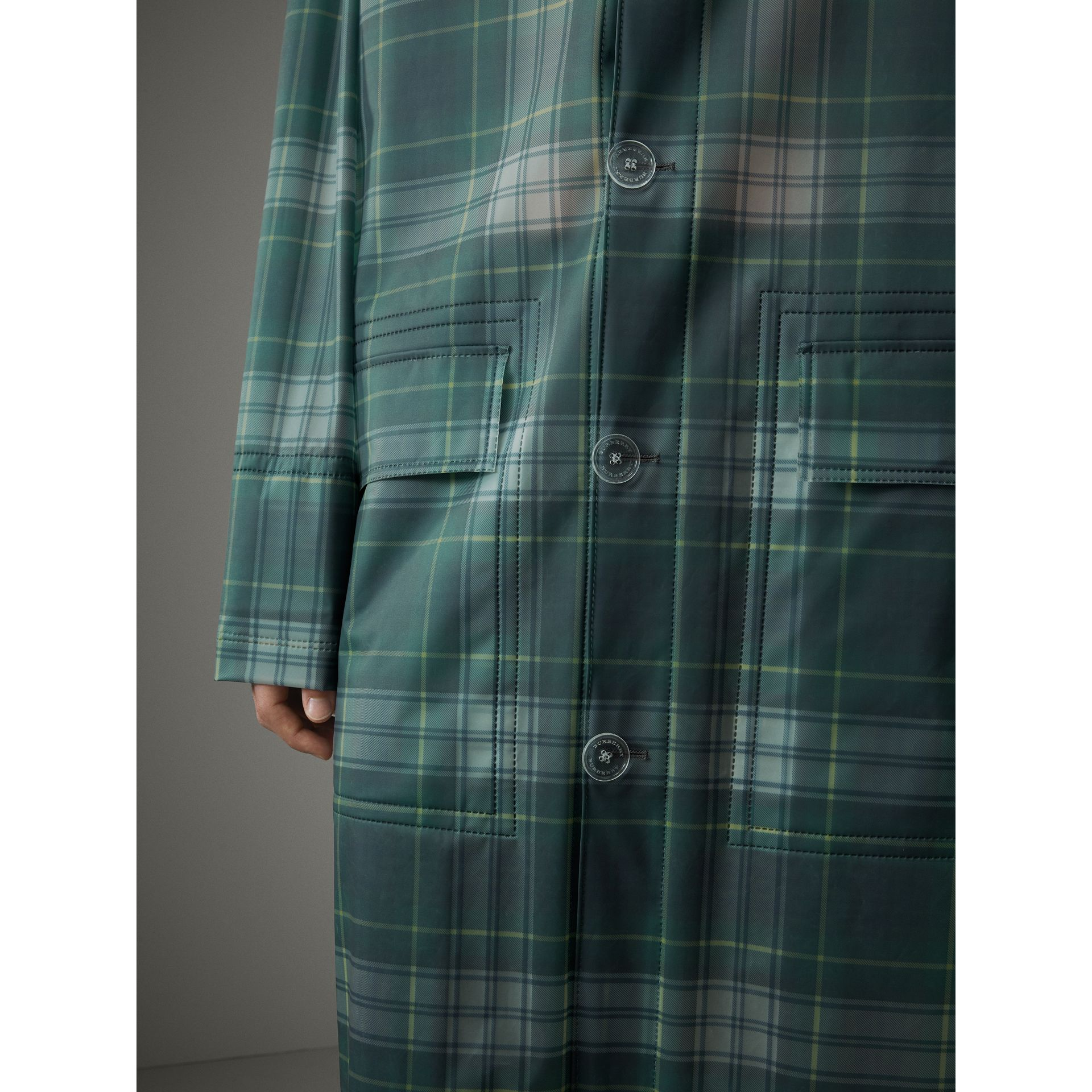 Tartan Soft-touch Plastic Hooded Car Coat in Navy - Men | Burberry Canada - gallery image 1