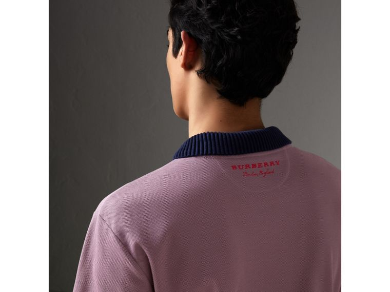 Two-tone Stripe Knitted Detail Cotton Polo Shirt in Heather Pink - Men | Burberry - cell image 4
