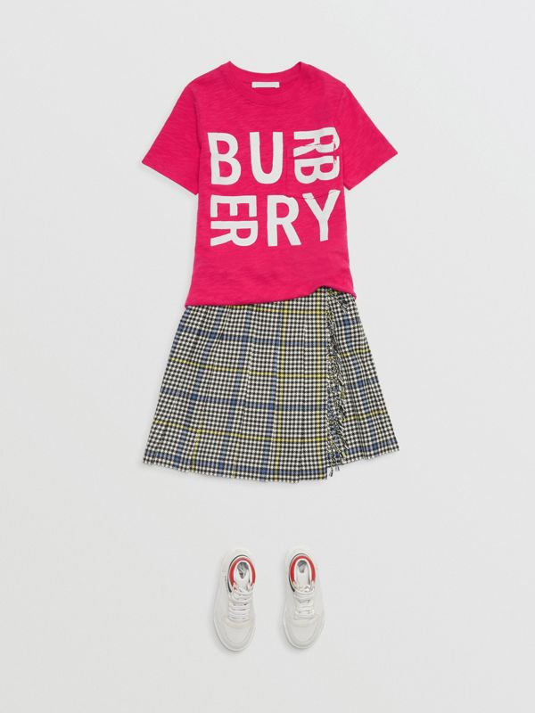 Logo Print Cotton T-shirt in Raspberry Pink - Children | Burberry - cell image 2