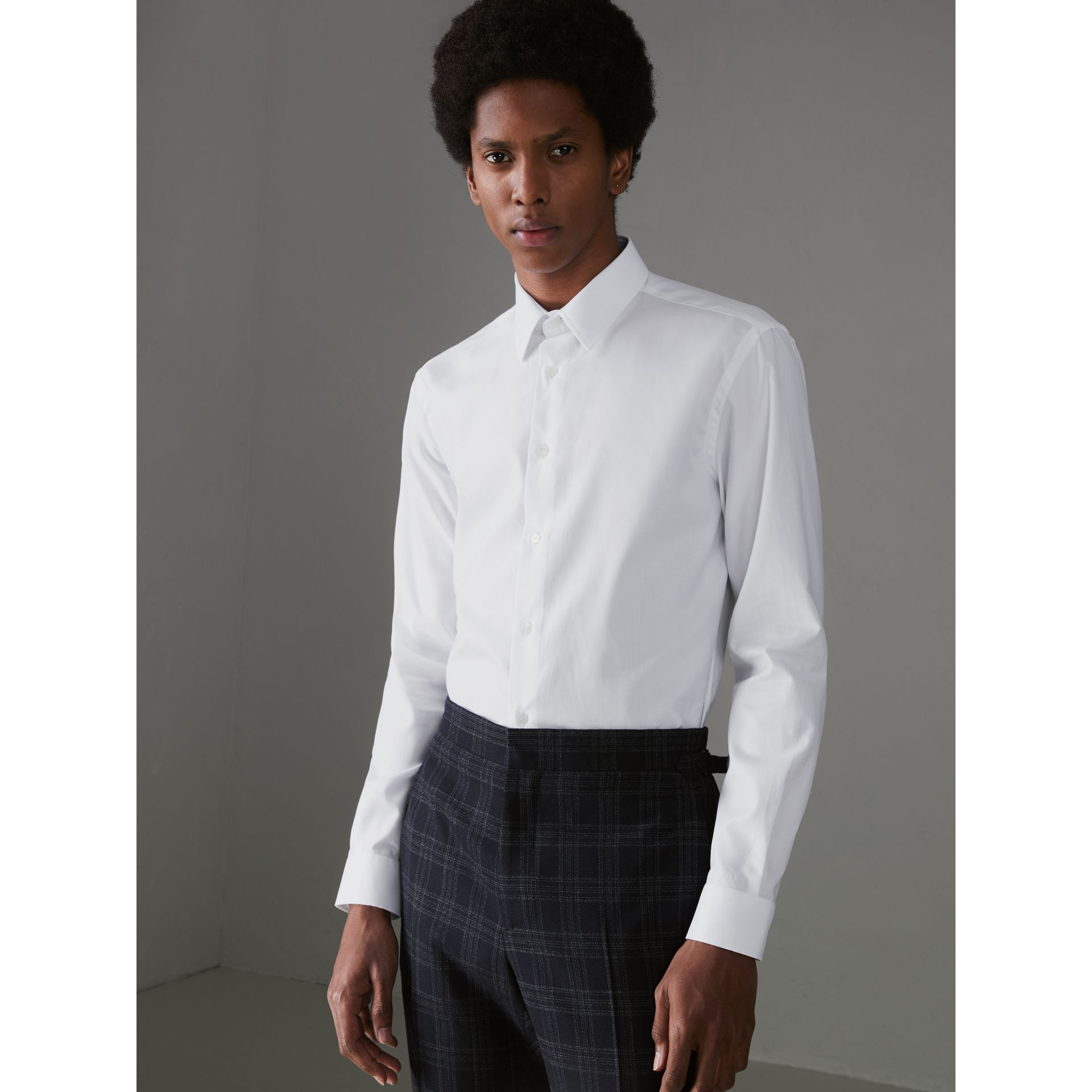 Modern Fit Cotton Shirt in White - Men | Burberry Canada - gallery image 4