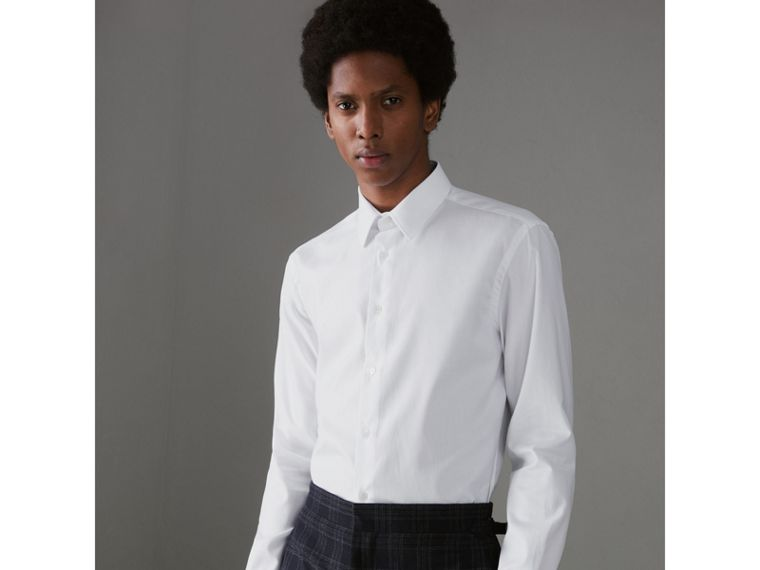 Modern Fit Cotton Shirt in White - Men | Burberry Canada - cell image 4