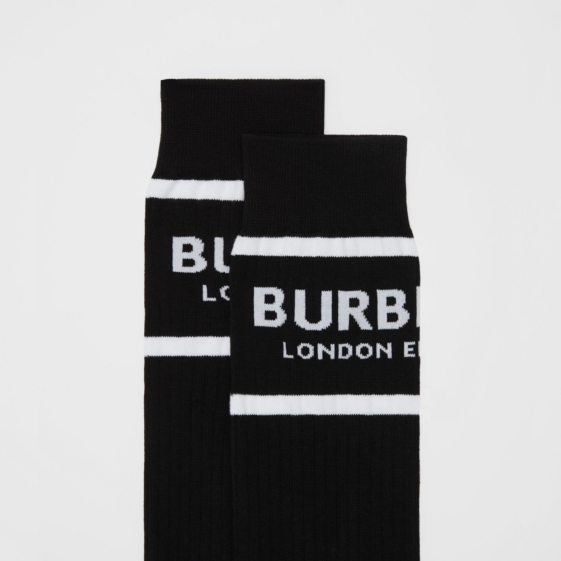 Logo Intarsia Cotton Blend Socks in Black | Burberry - gallery image 1