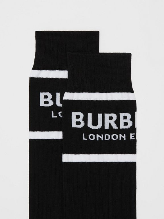 Logo Intarsia Cotton Blend Socks in Black | Burberry - cell image 1
