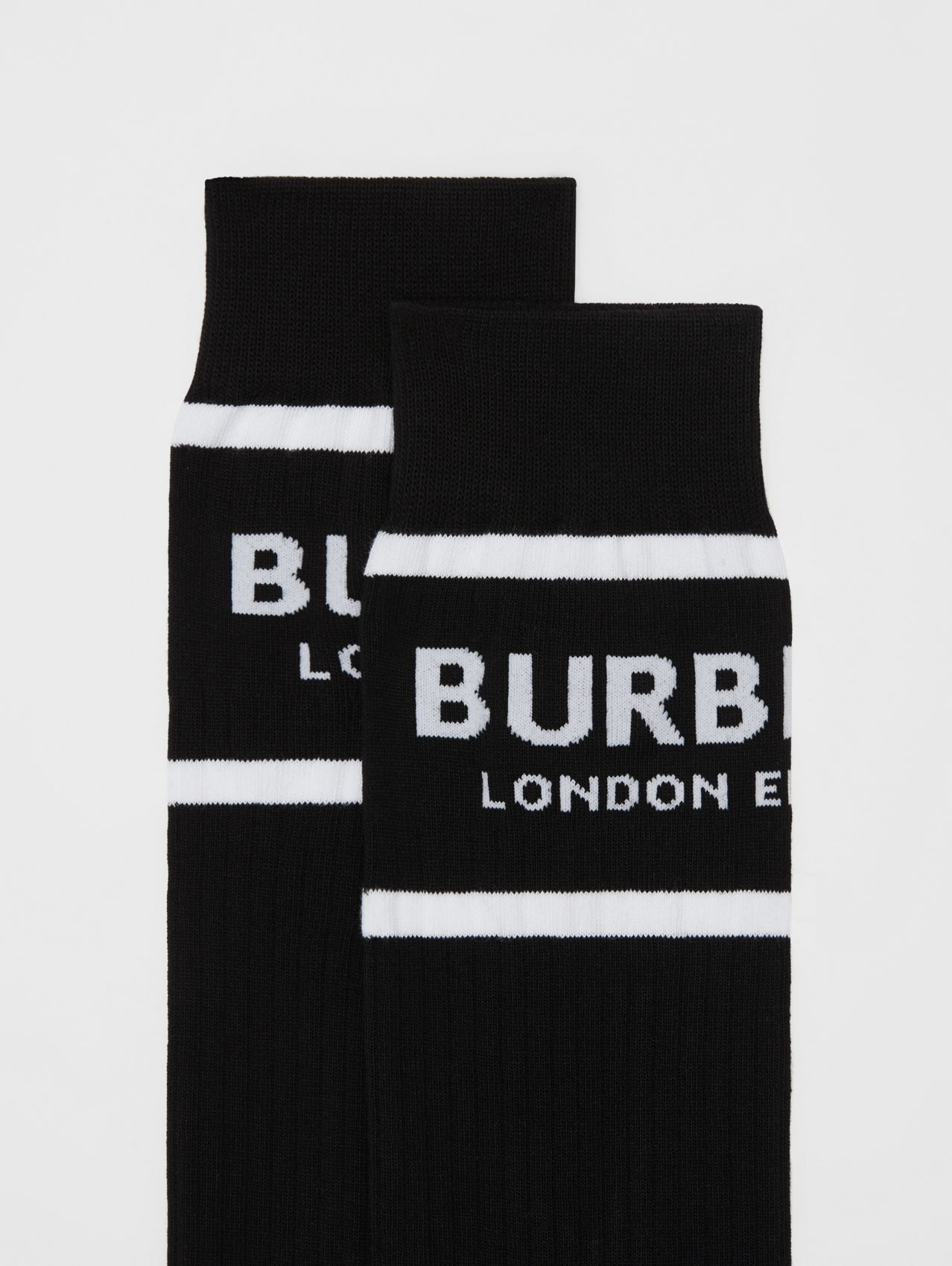 Logo Intarsia Cotton Blend Socks in Black
