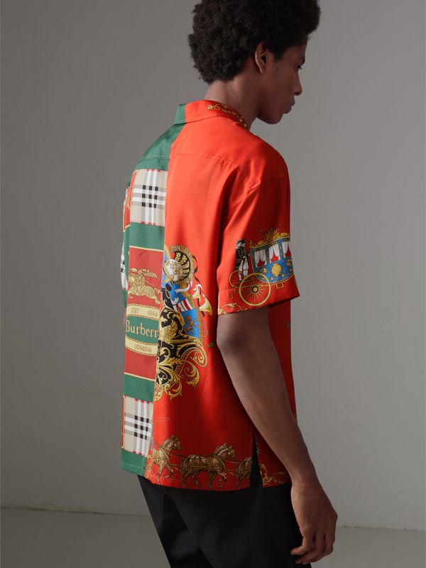 Short-sleeve Archive Scarf Print Silk Shirt in Bright Orange - Men | Burberry - cell image 2
