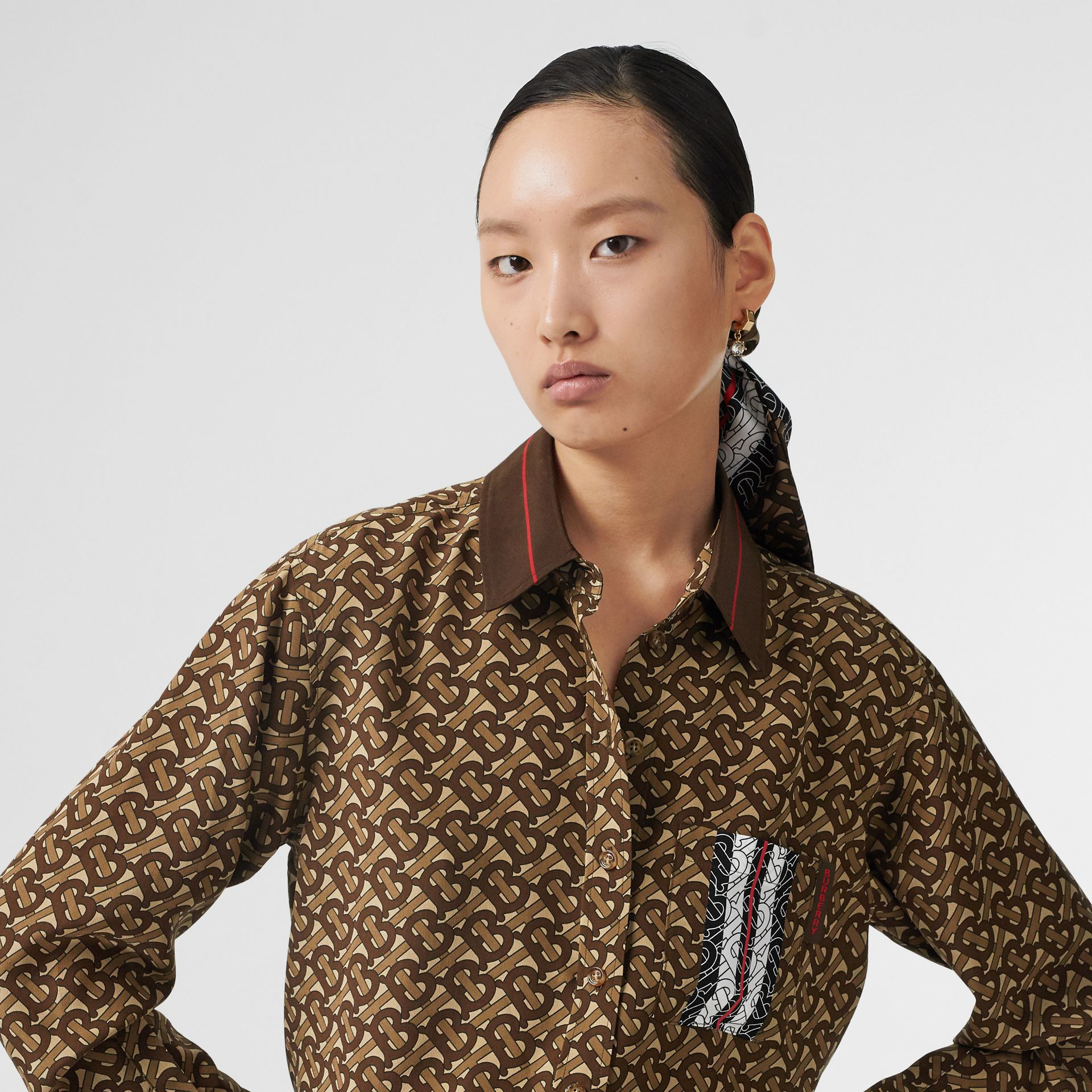 Monogram Stripe Print Silk Oversized Shirt in Bridle Brown - Women | Burberry United States - gallery image 5