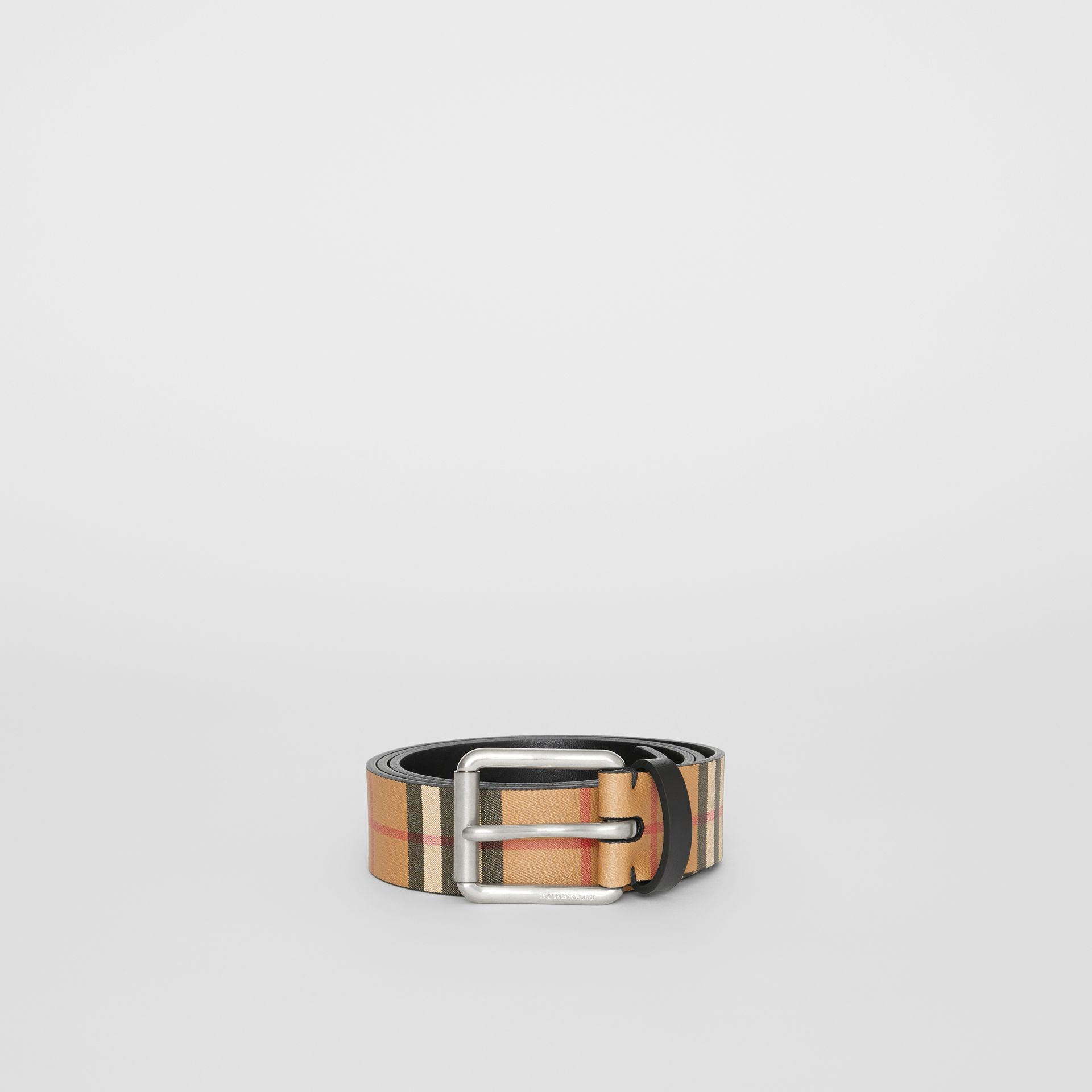 Vintage Check Leather Belt in Black - Men | Burberry - gallery image 3