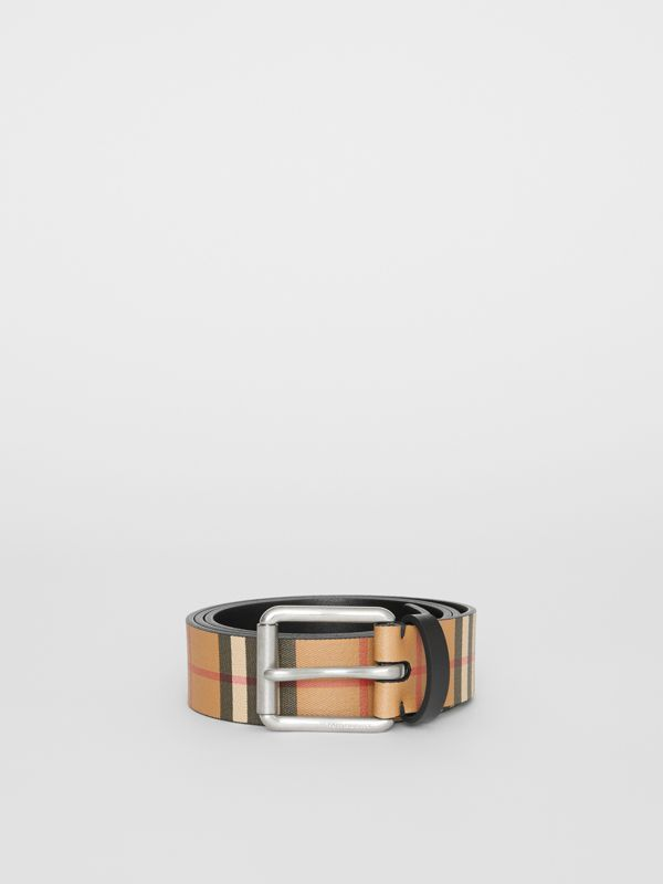 Vintage Check Leather Belt in Black - Men | Burberry United Kingdom - cell image 3