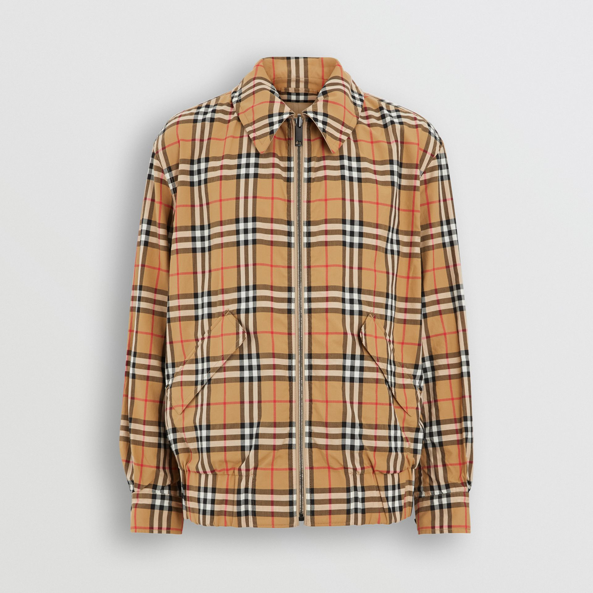 Reversible Gabardine and Check Harrington Jacket in Honey - Men | Burberry United Kingdom - gallery image 5