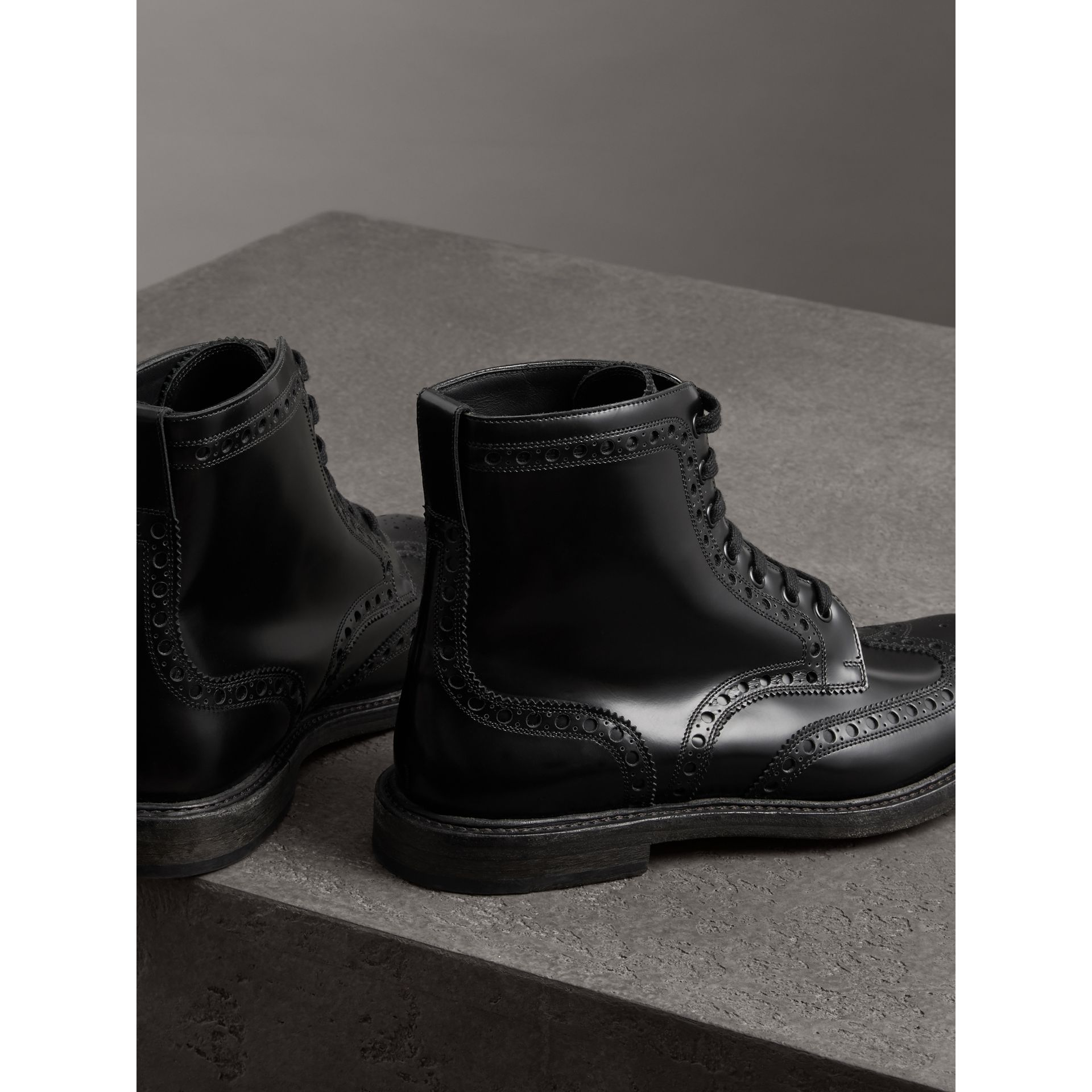Brogue Detail Polished Leather Boots in Black - Men | Burberry - gallery image 3