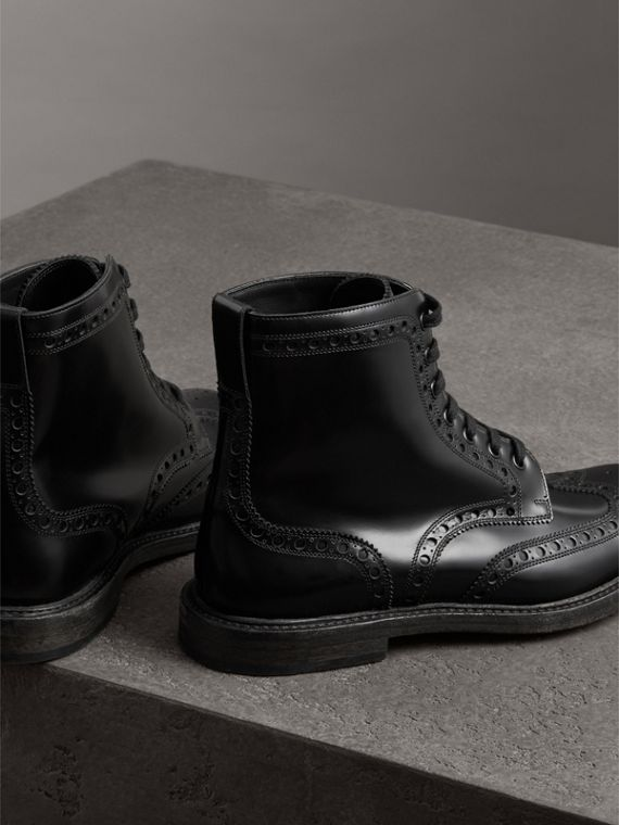 Brogue Detail Polished Leather Boots in Black - Men | Burberry - cell image 3