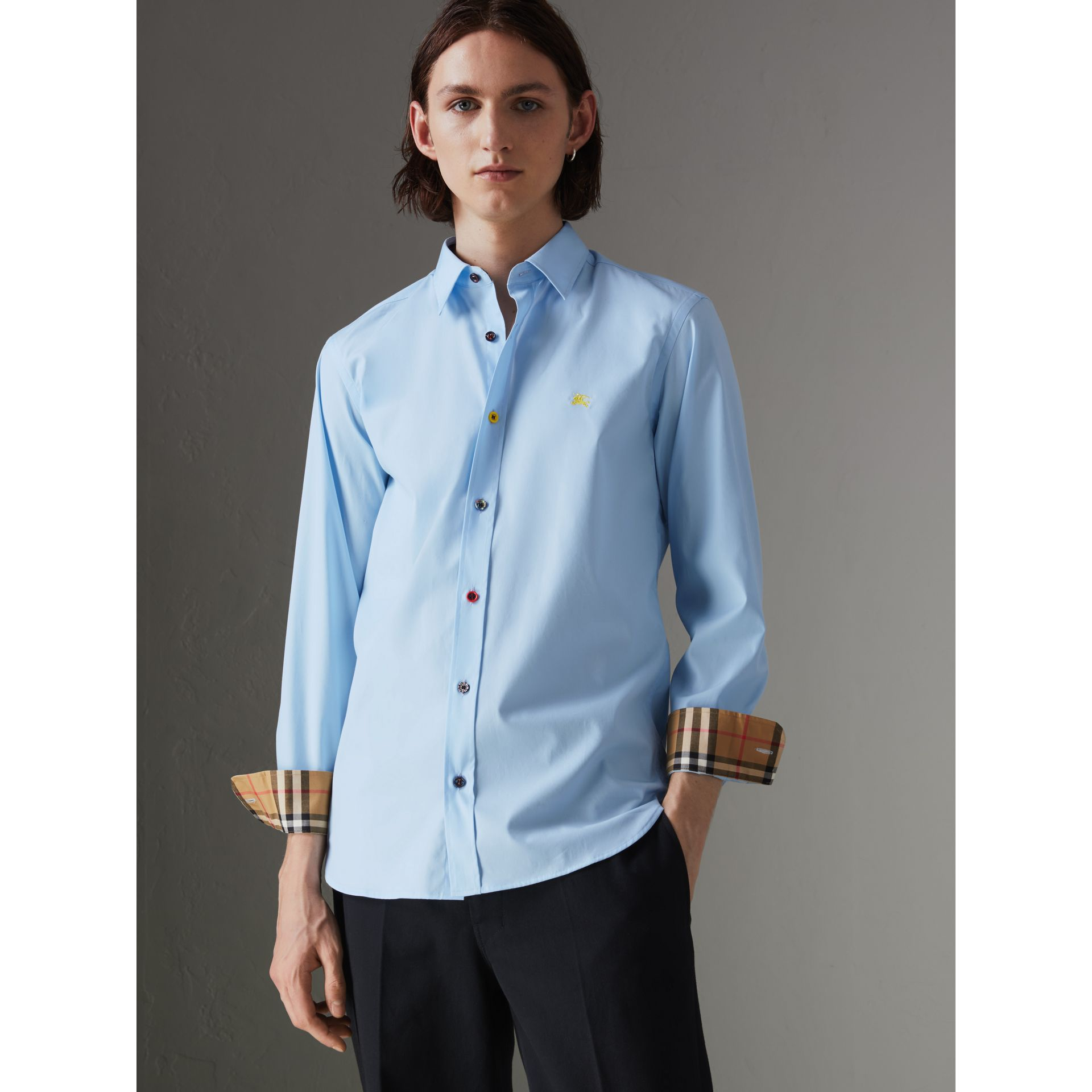 Contrast Button Stretch Cotton Shirt in Pale Blue - Men | Burberry Singapore - gallery image 4