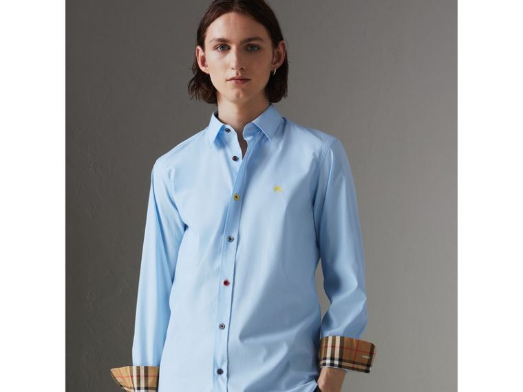 Contrast Button Stretch Cotton Shirt in Pale Blue - Men | Burberry - cell image 4