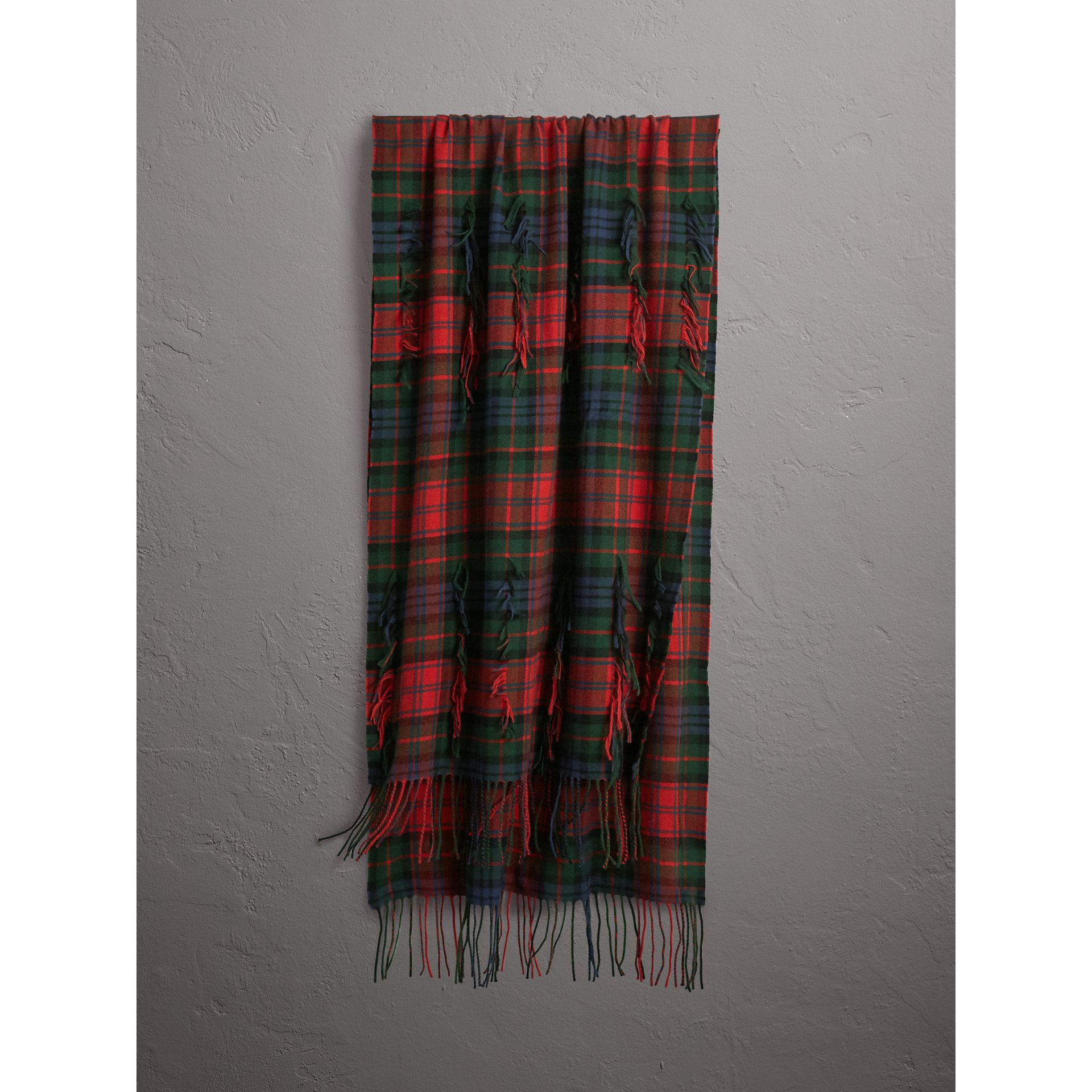 Fil Coupé Tartan Wool Cashmere Scarf in Bright Red | Burberry United Kingdom - gallery image 0