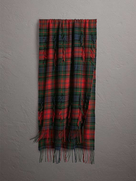 Fil Coupé Tartan Wool Cashmere Scarf in Bright Red