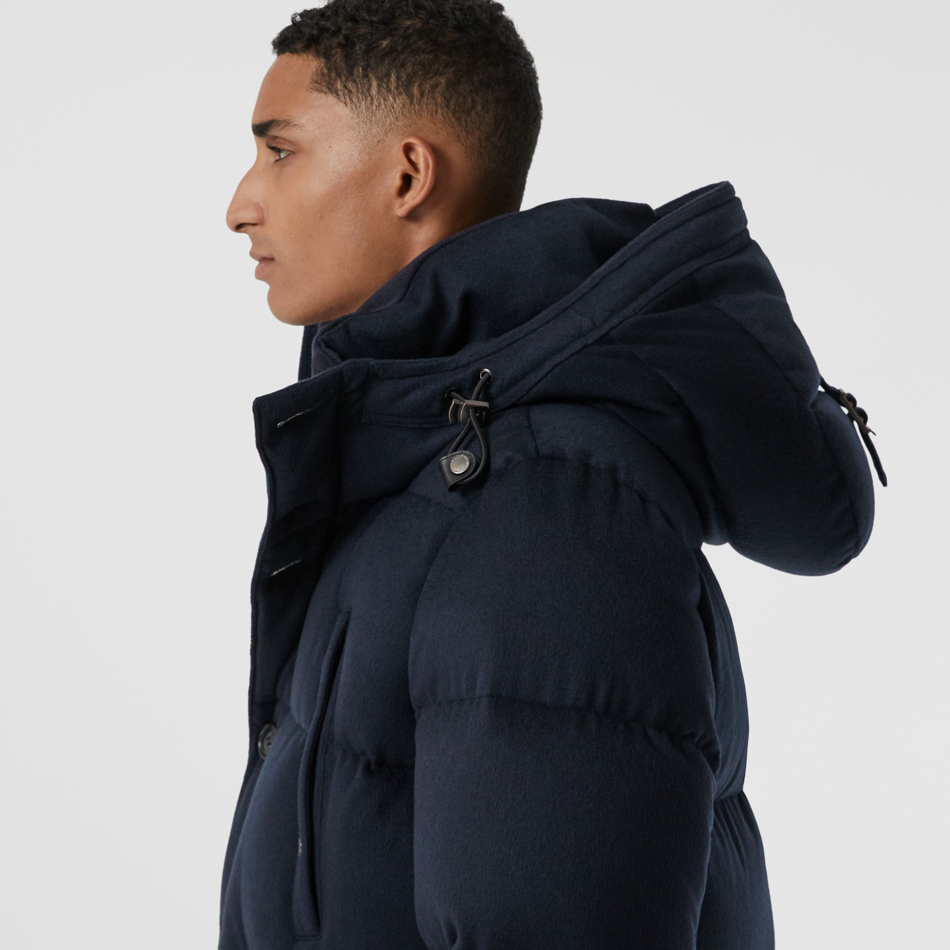 Cashmere Hooded Puffer Coat in Navy - Men | Burberry - gallery image 1
