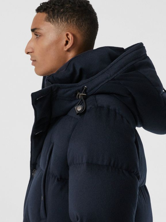 Cashmere Hooded Puffer Coat in Navy - Men | Burberry United States - cell image 1