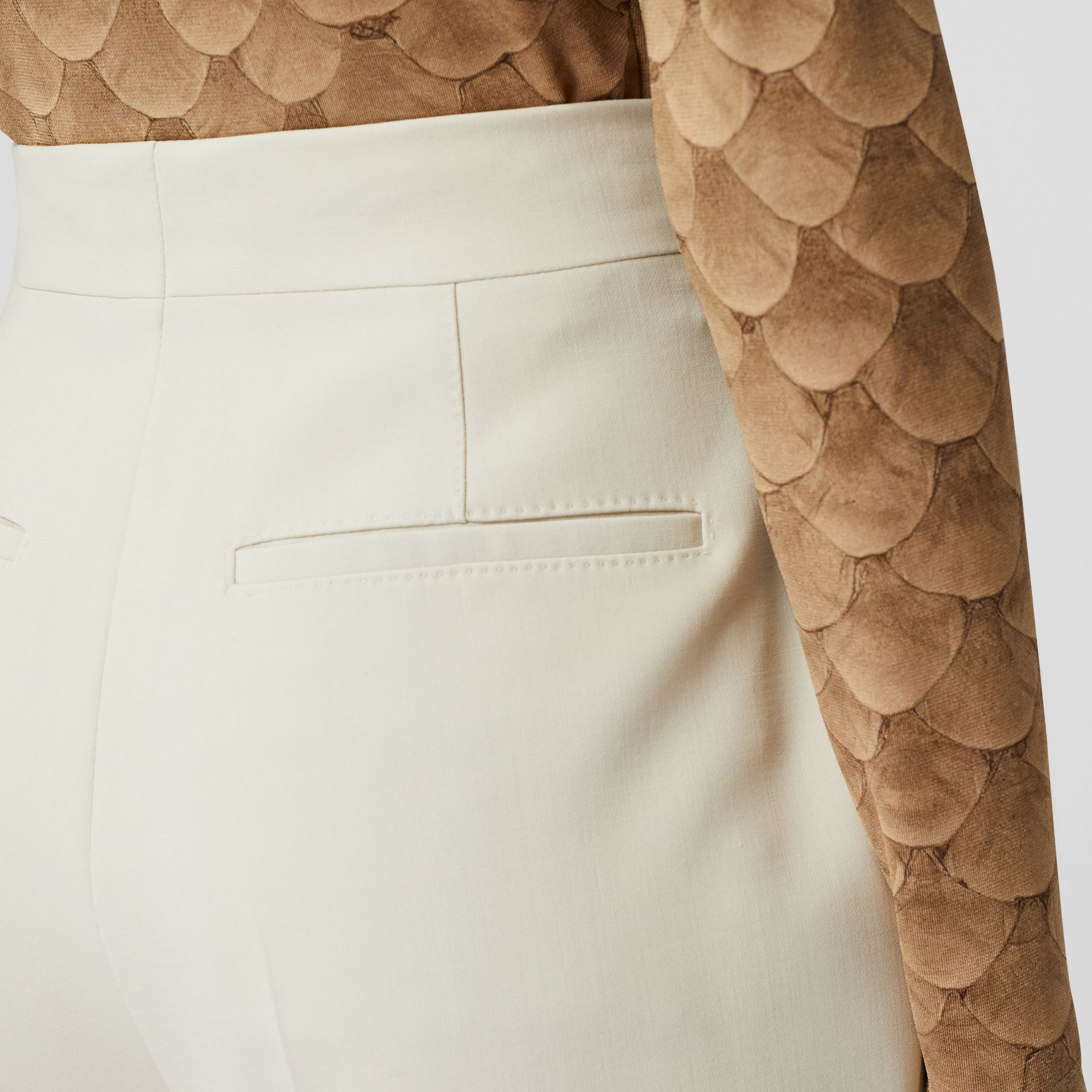 Straight Fit Stretch Wool Tailored Trousers in Pale Ochre - Women | Burberry - gallery image 4