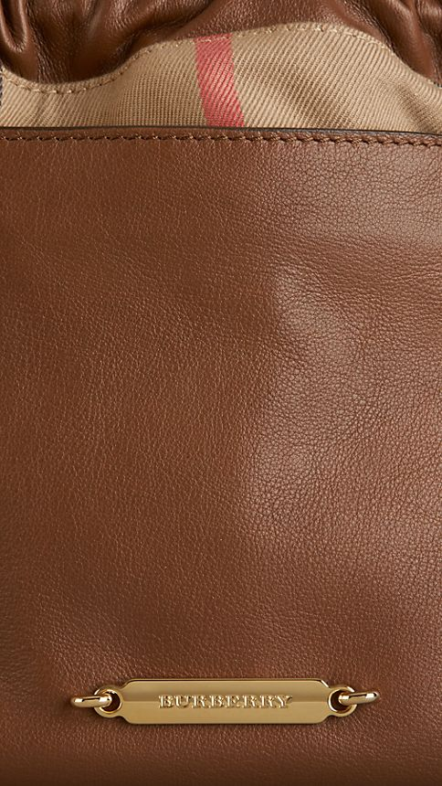 Brown ochre The Little Crush in Leather and House Check - Image 6