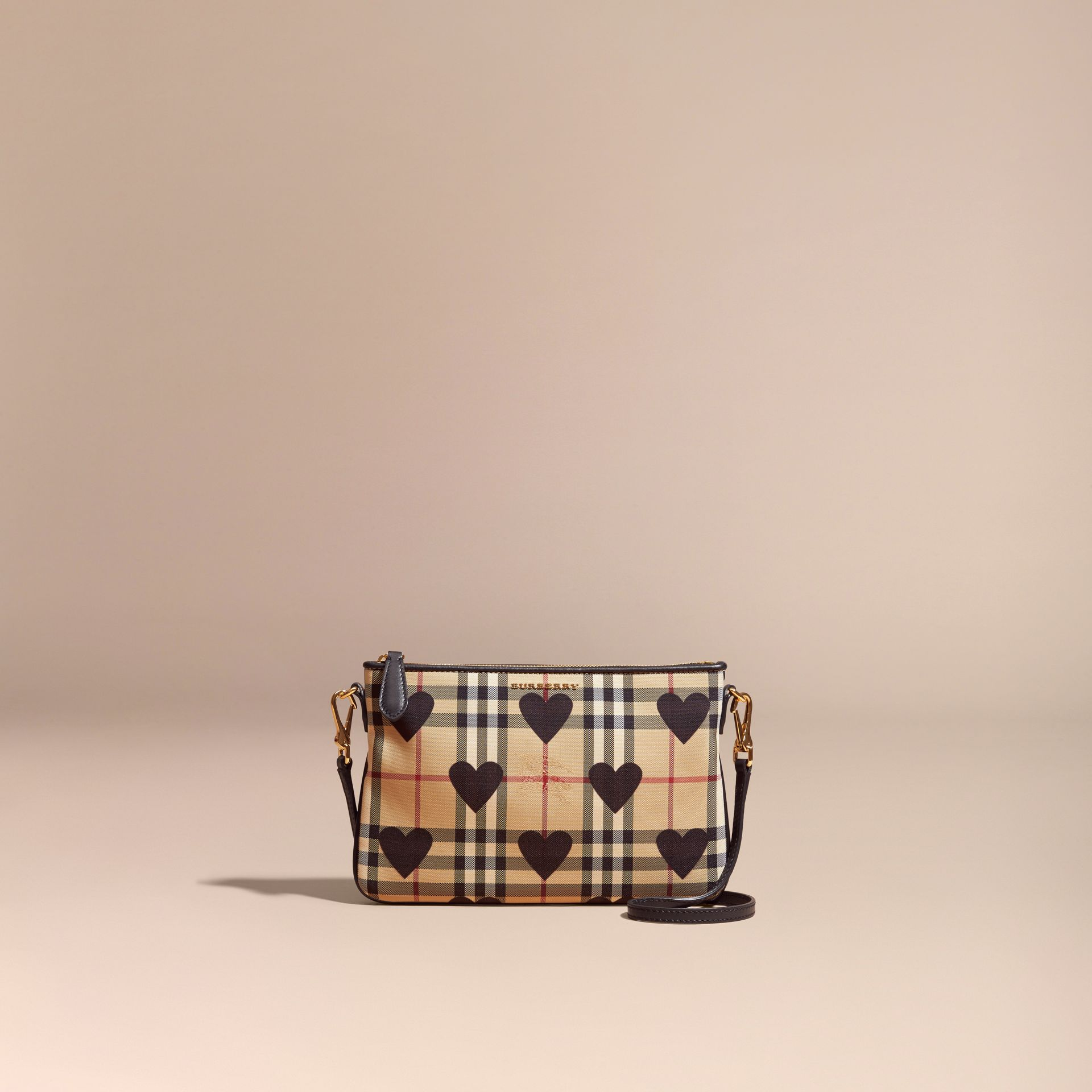 Black Heart Print Check and Leather Clutch Bag Black - gallery image 9