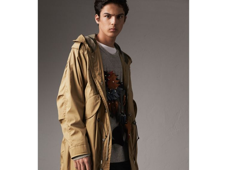 Cotton Blend Twill Parka - Men | Burberry - cell image 4