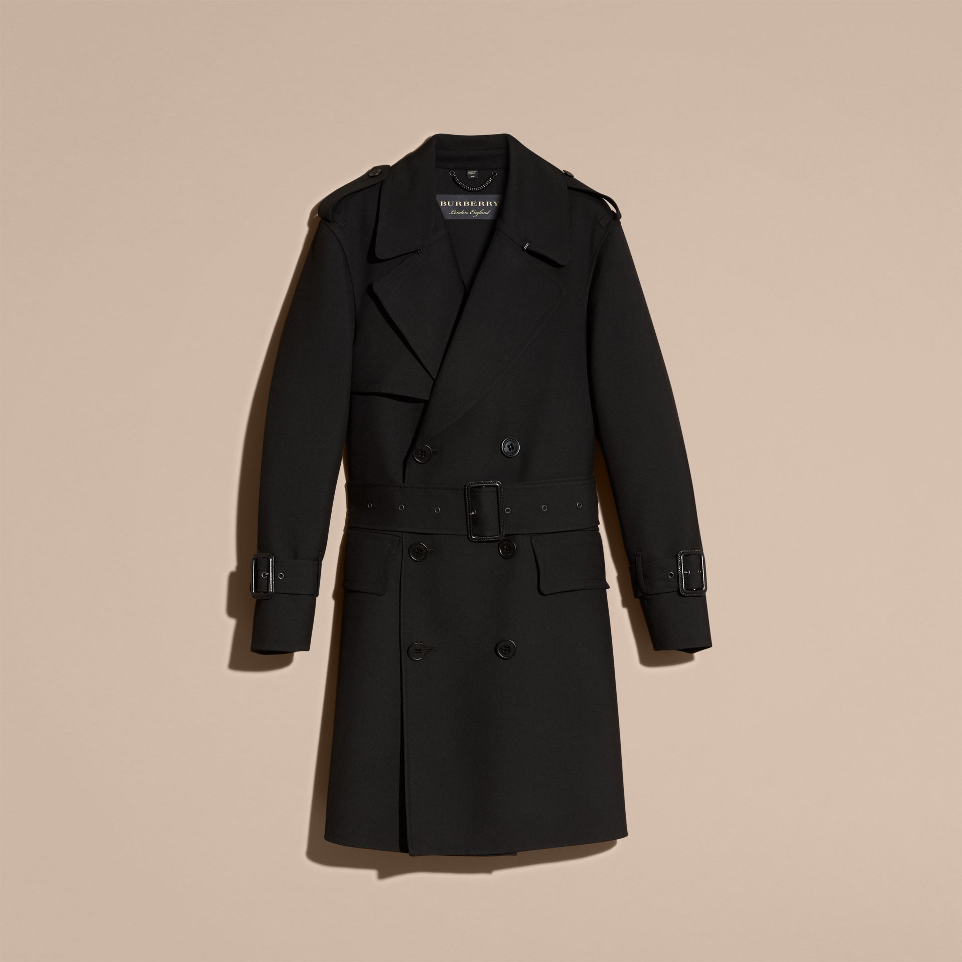 Black Relaxed Fit Wool Twill Trench Coat - gallery image 4