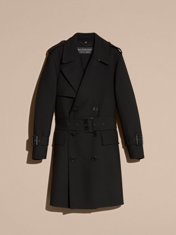 Black Relaxed Fit Wool Twill Trench Coat - cell image 3
