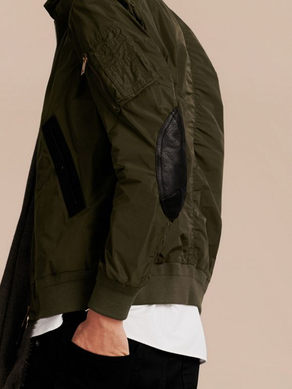Khaki Lightweight Leather Trim Technical Jacket - cell image 2