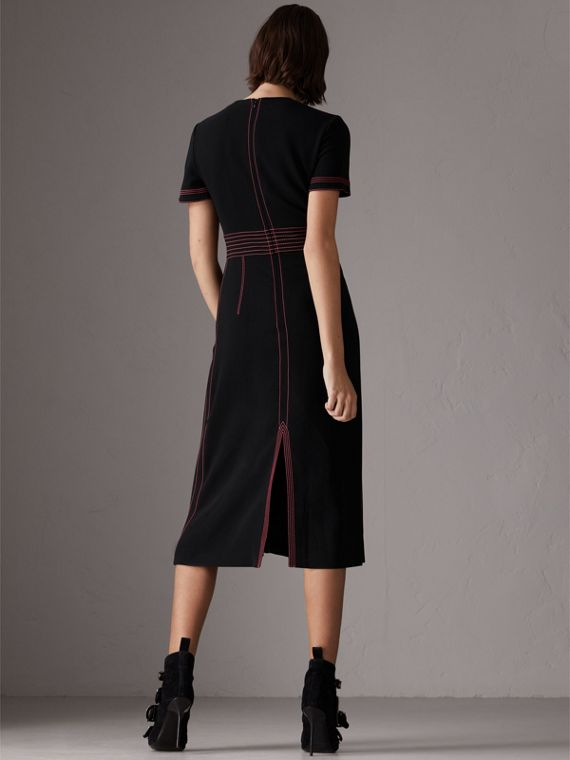 Contrast Topstitch Detail Crepe V-neck Dress in Black - Women | Burberry - cell image 2