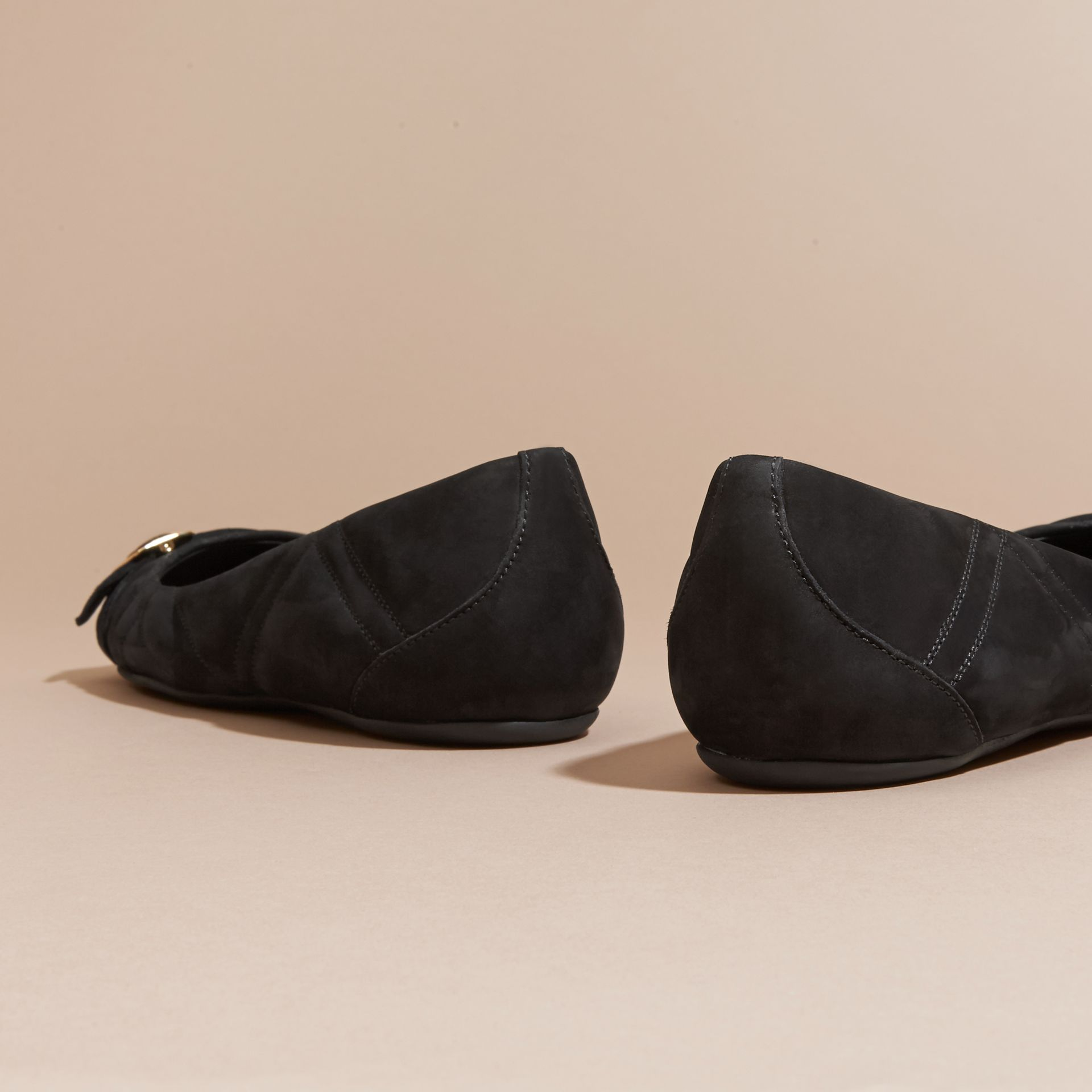 Buckle Detail Quilted Suede Ballerinas Black - gallery image 4