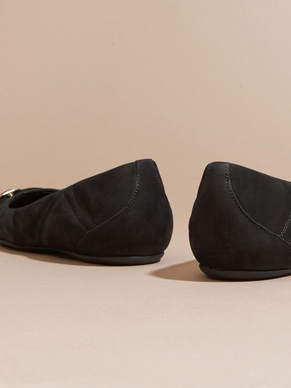 Black Buckle Detail Quilted Suede Ballerinas Black - cell image 3