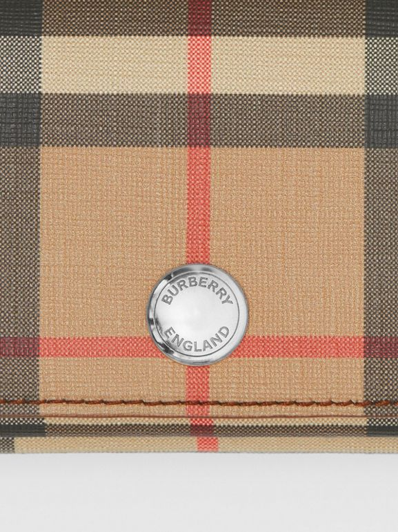 Small Vintage Check E-canvas Folding Wallet in Malt Brown - Women | Burberry United Kingdom - cell image 1