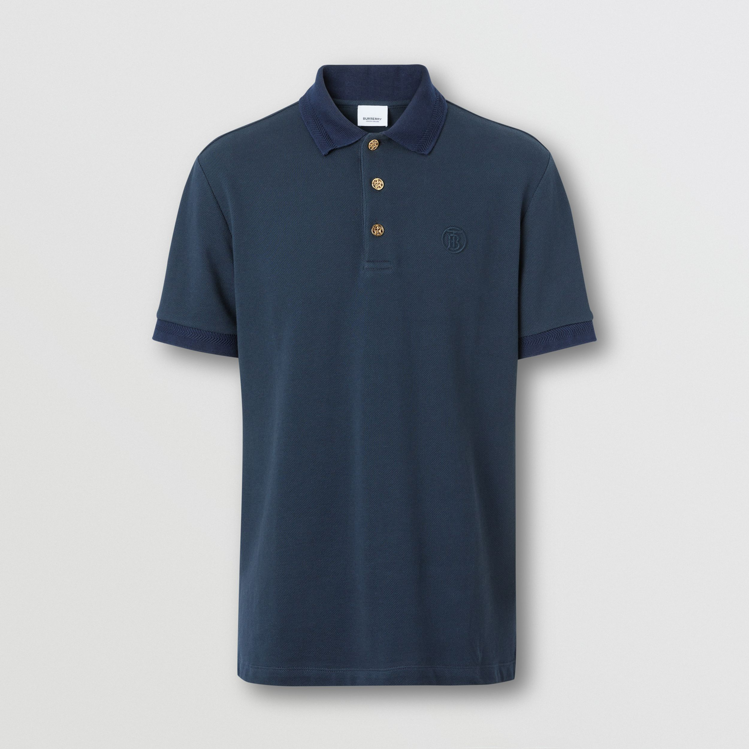 Button Detail Cotton Piqué Polo Shirt in Navy - Men | Burberry - 4