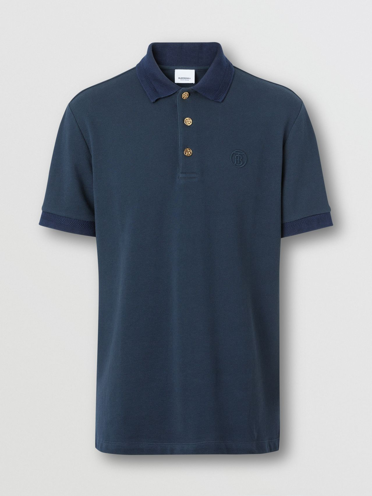 Button Detail Cotton Piqué Polo Shirt in Navy