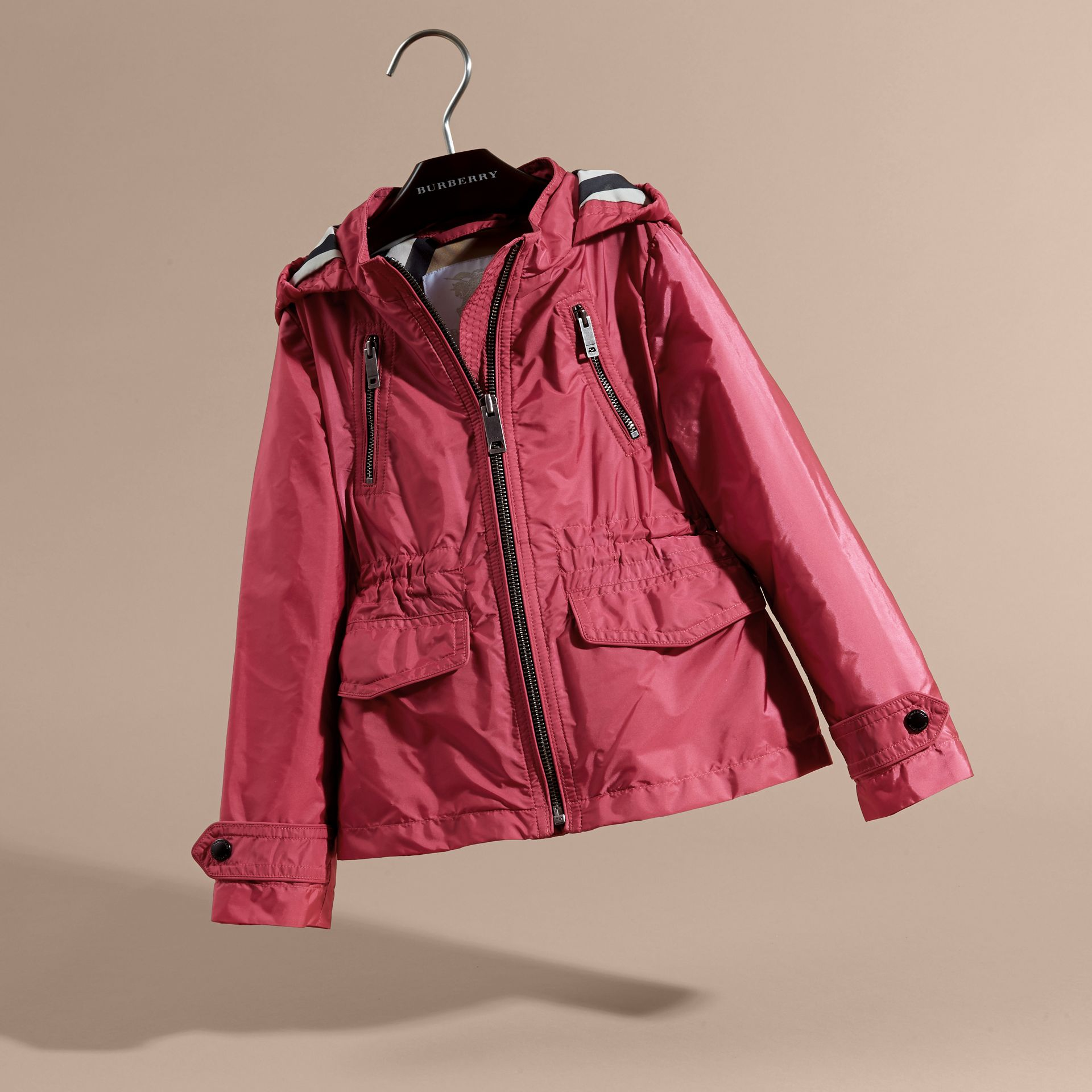 Hooded Packaway Technical Jacket Pink Azalea - gallery image 3