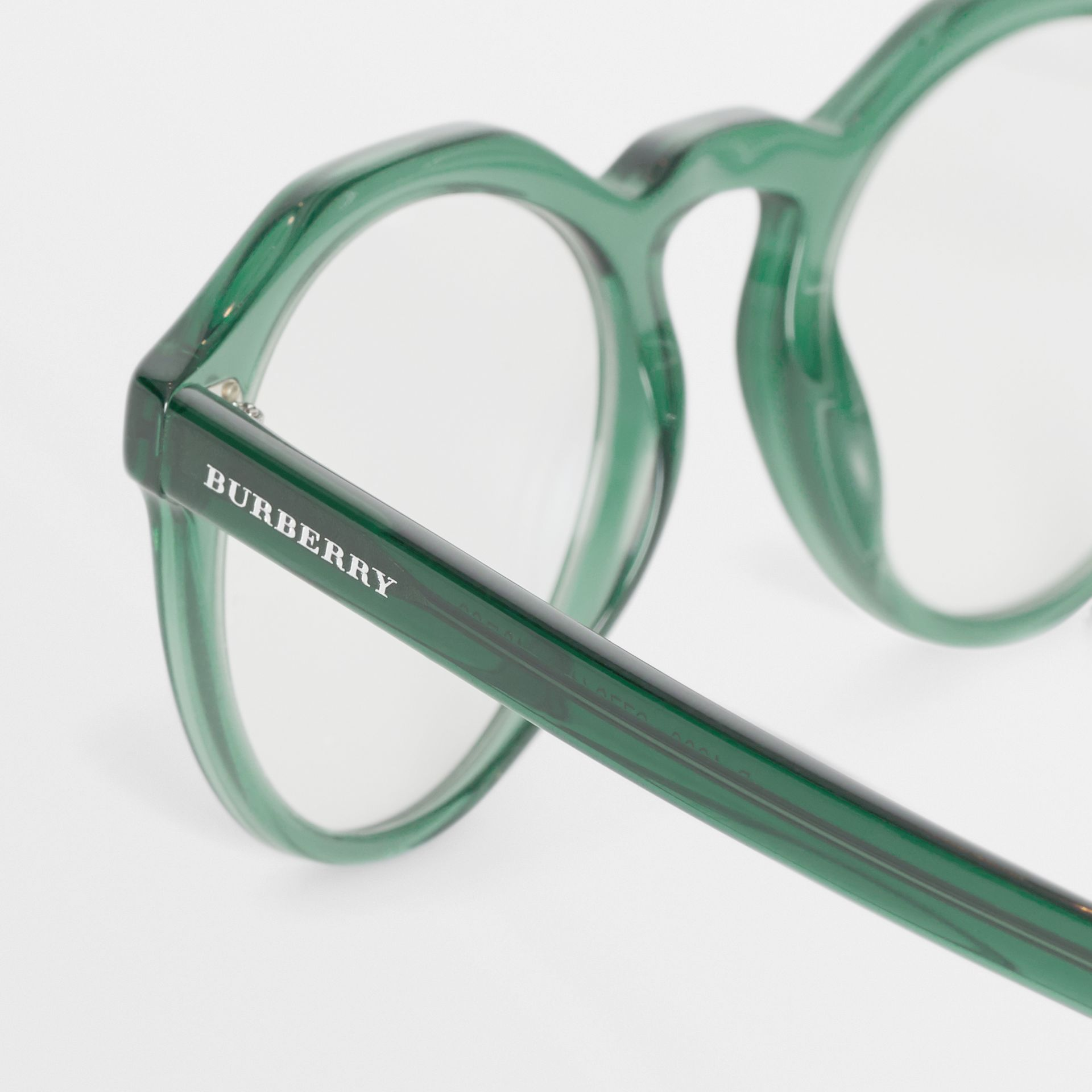Keyhole Round Optical Frames in Green - Men | Burberry - gallery image 1